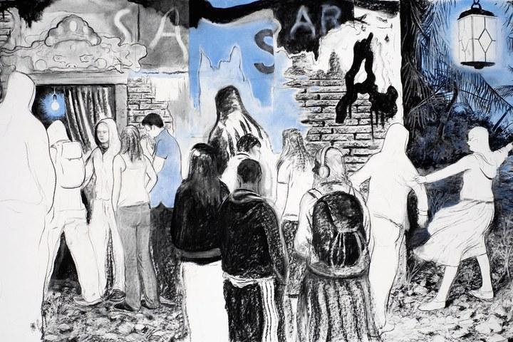 Samsara, 2009, 120x200cm, Kohlezeichnung.jpg