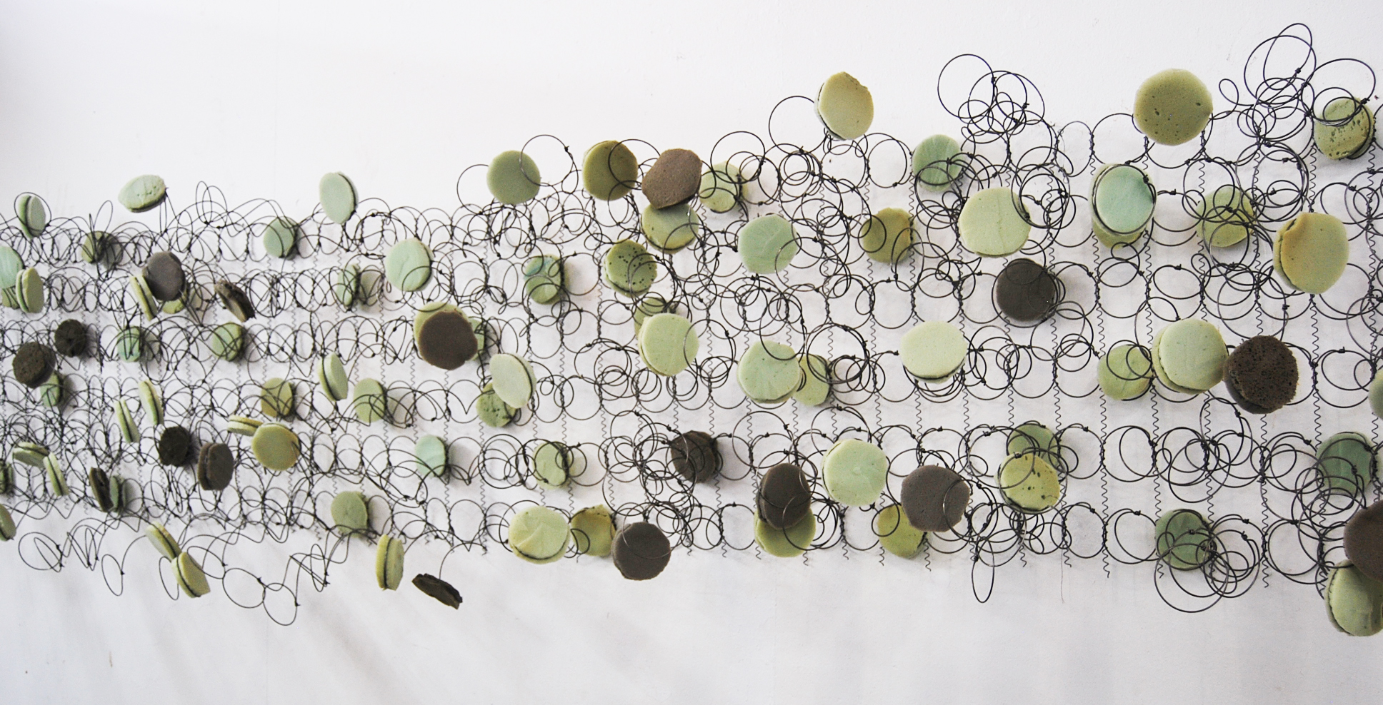 Bronwyn Katz, Orkaan Kwaatjie (2017), salvaged bed springs and mattress, 359,8 × 65,5 × 37,9cm, courtesy the artist and Blank Projects.jpg