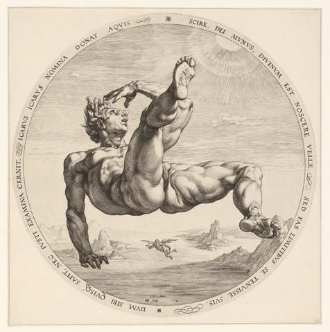 Hendrick Goltzius, Icarus, 1588, d 327mm, gravure, Rijksmuseum Amsterdam
