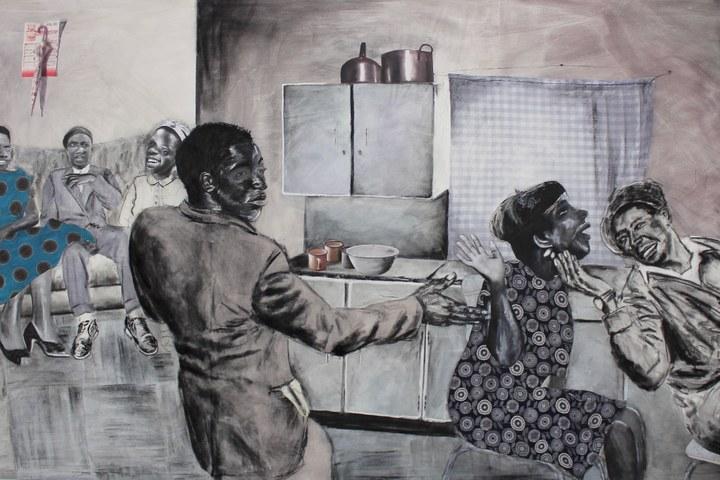 Neo Matloga, O NA LE SE KE NYAKAHO O GOBOTSA - collage, charcoal & ink on canvas, 201cm x 360cm 2017.jpg