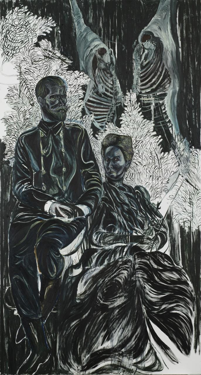 Natasja Kensmil, Nicolaas II and Alexandra, olieverf op doek, 2008, 260 x 140 cm, courtesy andriesse-eyck galerie