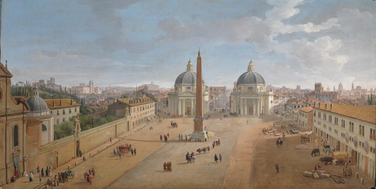Palazzo Zevallos - Gaspar van Wittel - Veduta di Roma con piazza del Popolo.jpg