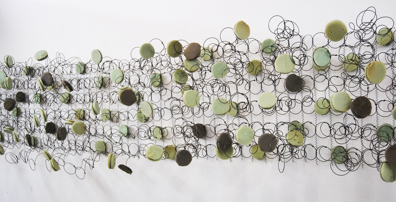 Bronwyn Katz, Orkaan Kwaatjie (2017), salvaged bed springs and mattress, 359,8 × 65,5 × 37,9cm, courtesy the artist and Blank Projects