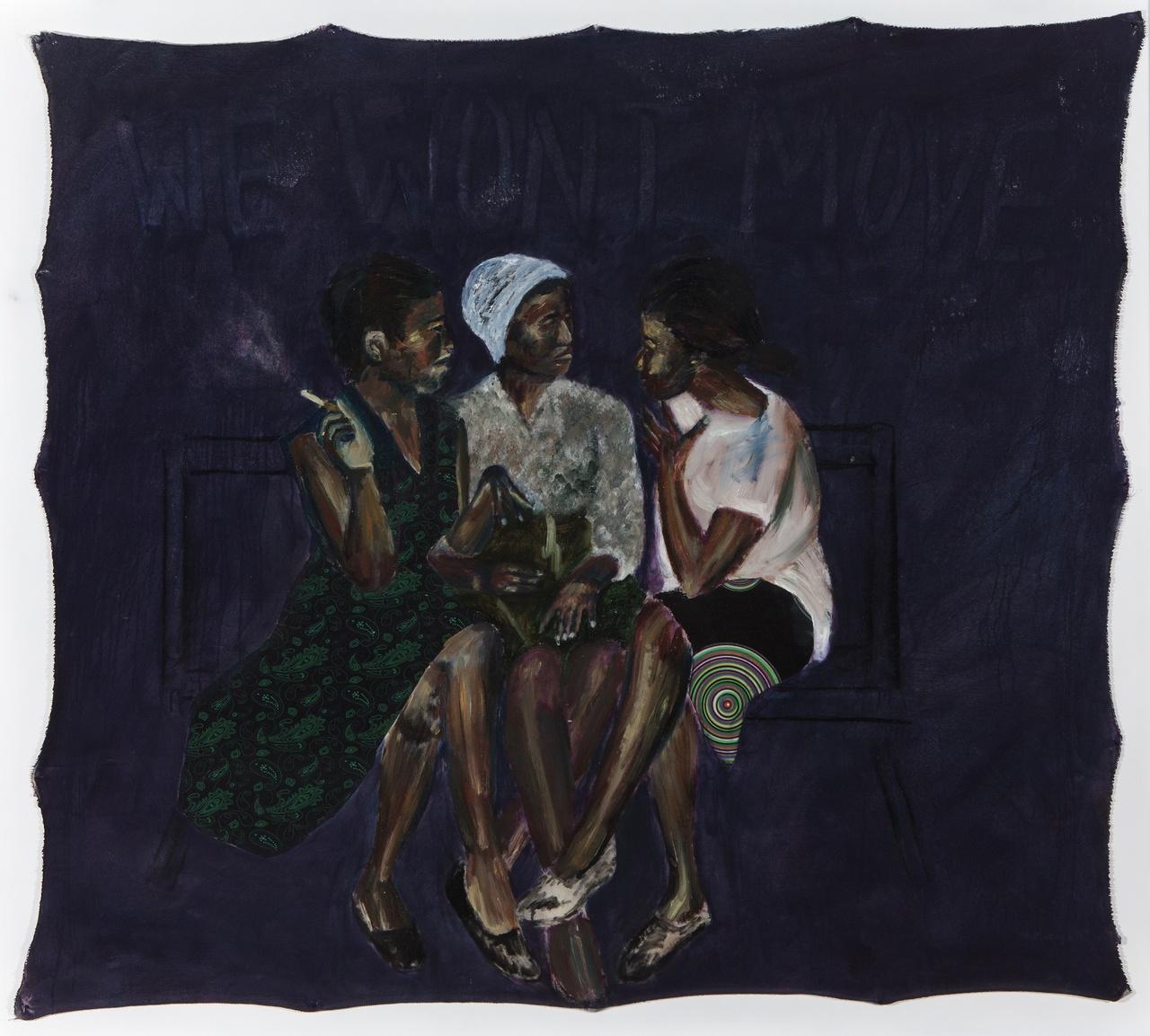 Neo Matloga, Bo mma sebotsana, 2017, oil on collage on canvas, 145x160 cm, courtesy Christopher Moller Gallery