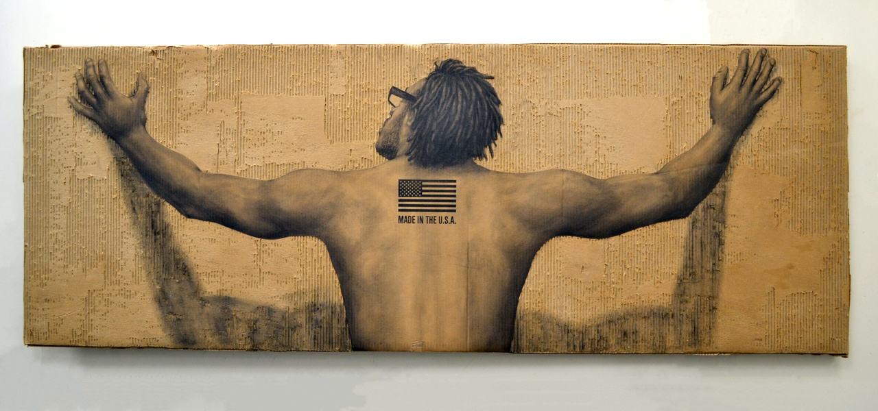 Dáreece Walker, Made in the USA, 2016. Charcoal on cardboard. Courtesy of the artist